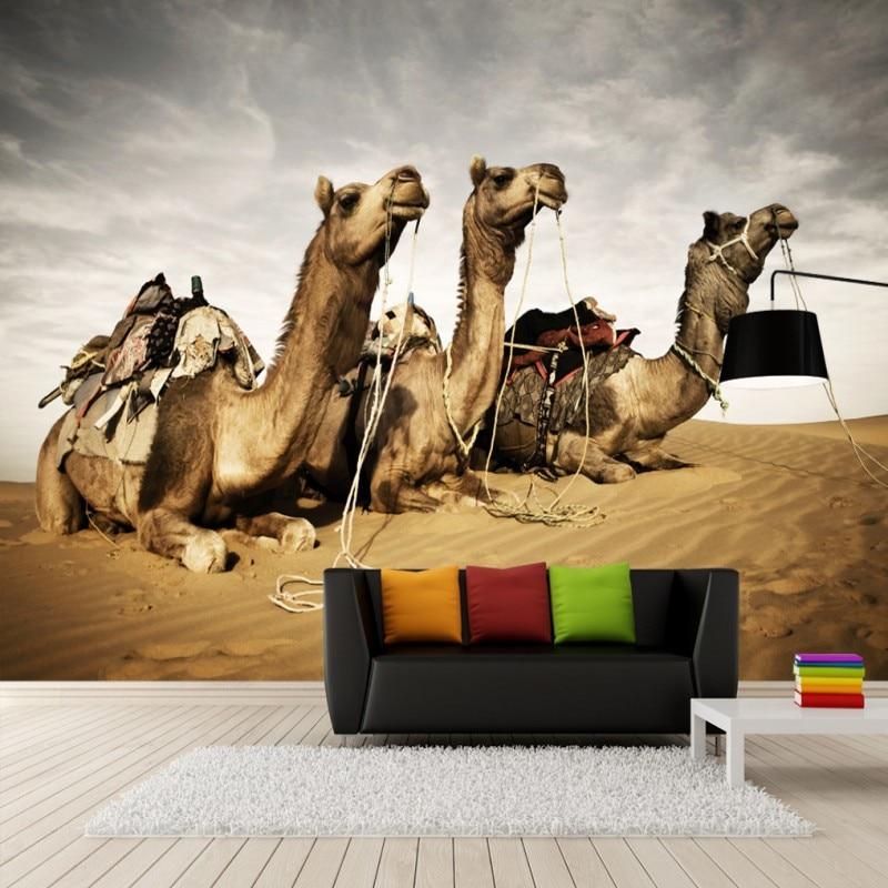 Us 12 61 30 Off Custom Mural 3d Stereo Custom Mural Camel Desert Gobi Desert Chinese Fresco Tv Background Wallpaper Living Room Mural In Wallpapers