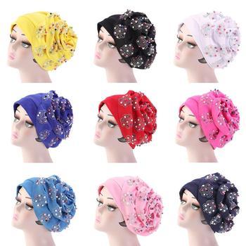 54a4dc601 HT2400 mujeres rebordear India sombrero musulmán Ruffle cáncer quimio  Beanie bufanda turbante Wrap Cap mujeres Skullies gorros mujer Beanie Caps
