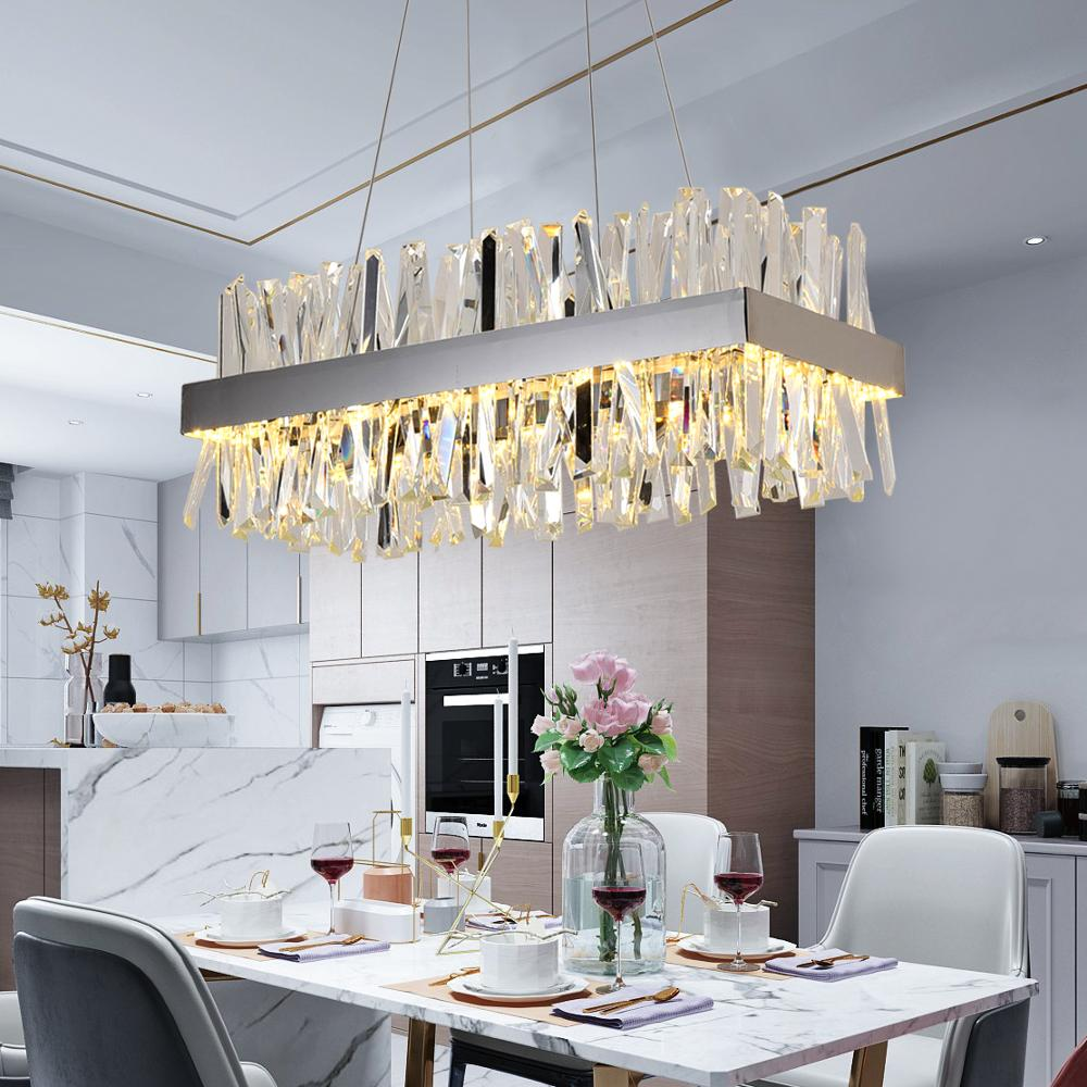 Image 2 - Luxury rectangle crystal chandelier lighting for dining room kitchen island lamps hanging modern chrome led chandeliers-in Chandeliers from Lights & Lighting