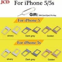 JCD Nano Cartão SIM Tray Titular Slot para iPhone 5 5S 5S Parte Substituição Do Cartão SIM Card Titular Soquete Adaptador + SIM Eject Pin Chave|Cartão SIM/SD Bandejas|Telefonia e Comunicação -