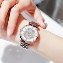 Luxury Brand Women Watches Rhinestone Dial Watch Bracelet Clasp Fashion Casual Female Wristwatch Roman Numeral Simple Clock 2019