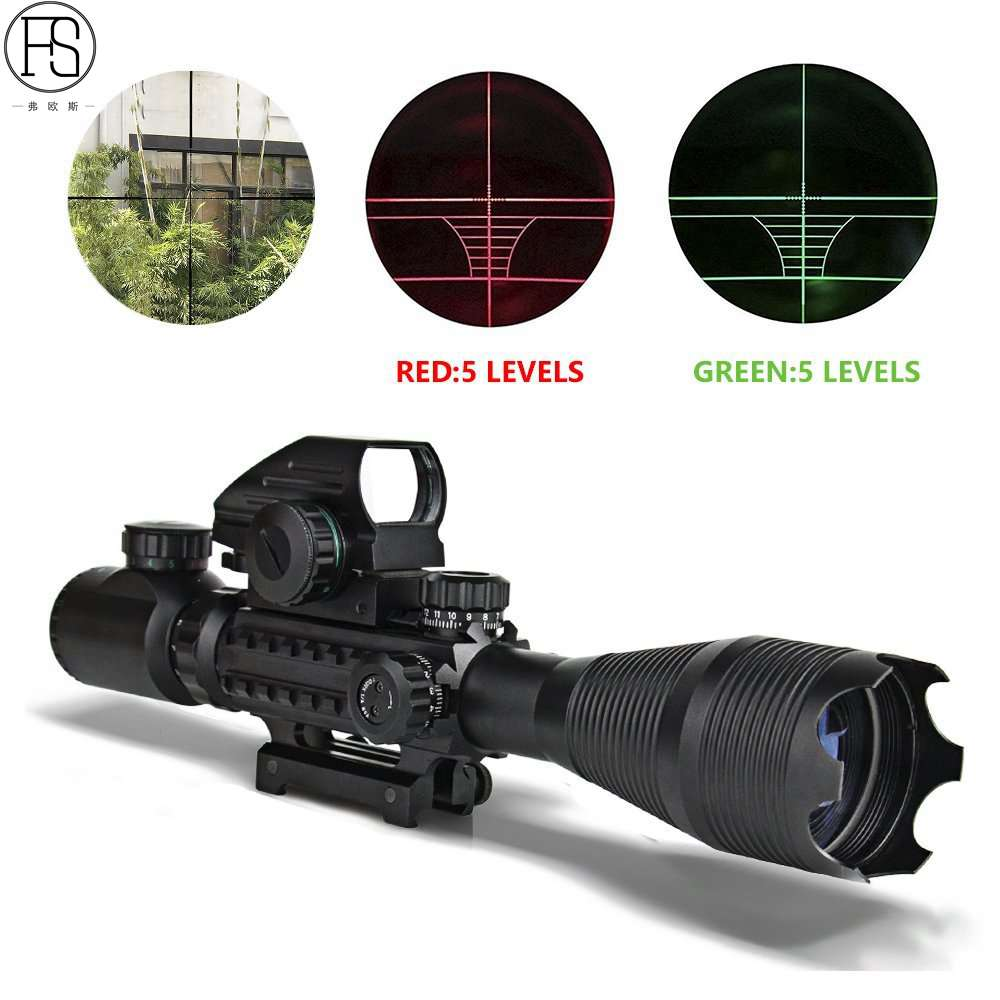 New 4-16X50EG Red Green Illuminated Rifle Scope Hunting Reflex Red/Green Dot 4 Reticle Holographic Projected Sights цена