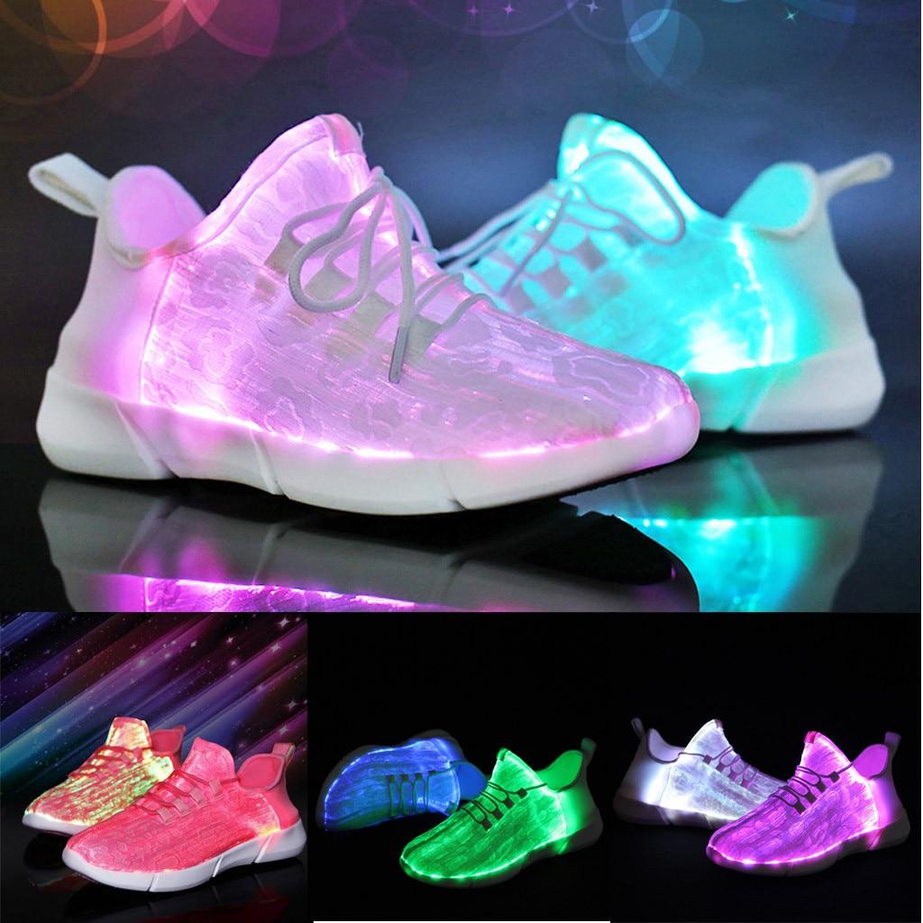 Men's Shoes Couple Luminous Light Mesh Shoes Lace-up Led Light Casual Shoes Colorful Flash Shoes Breathable Sneaker Usb Srecharge Mar 23 Shoes