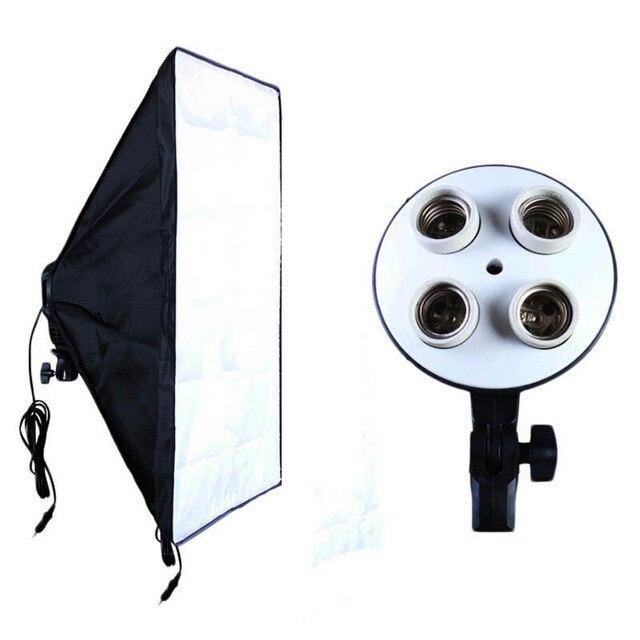 Attrezzature fotografiche Photo Studio Soft Box Kit Video A quattro capped Illuminazione Supporto della lampada + 50*70 cm Softbox Photo Box