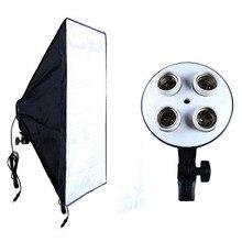 Kit de support de lampe à quatre capuchons + boîte à lumière 50x70cm pour Studio Photo, équipement de photographie