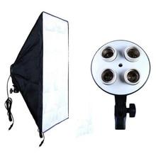 Matériel photographique Kit de boîte souple Studio Photo éclairage de support de lampe à quatre bouchons vidéo + boîte à Photo Softbox 50x70 cm