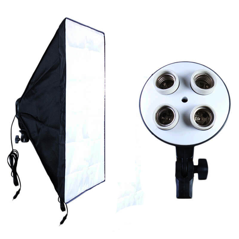Photographic Equipment Photo Studio Soft Box Kit Video Four-capped Lamp Holder Lighting+50*70cm Softbox Photo Box