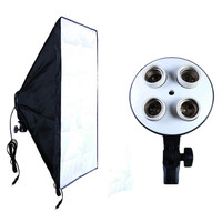 Photographic Equipment Photo Studio Soft Box Kit Video Four capped Lamp Holder Lighting+50x70cm Softbox Photo Box