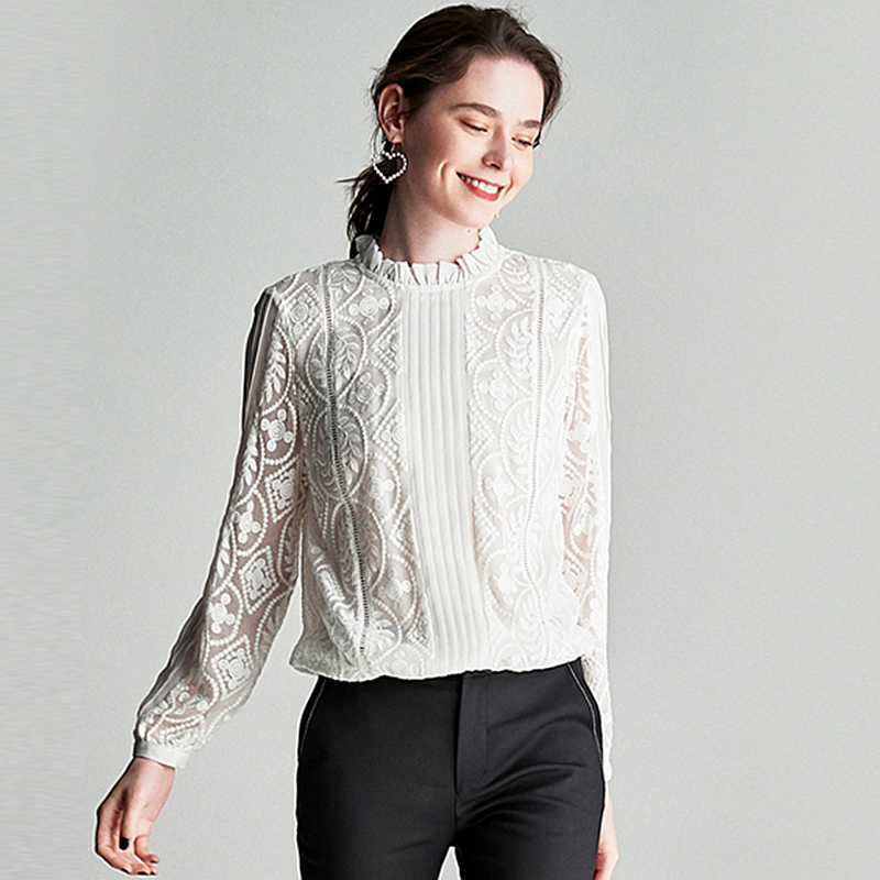 100 Silk Blouse Women Shirt Solid Vintage Embroidery Pleated Design Ruffles O Neck Long Sleeves Graceful