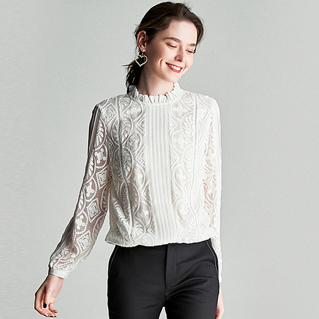 100% Silk Blouse Women Shirt Solid Vintage Embroidery Pleated Design Ruffles O Neck Long Sleeves Graceful Style New Fashion 2019