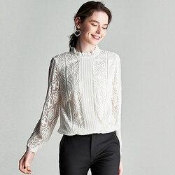 100% Zijden Blouse Vrouwen Shirt Solid Vintage Borduurwerk Geplooide Ontwerp Ruches O Hals Lange Mouwen Graceful Stijl Nieuwe Mode 2019