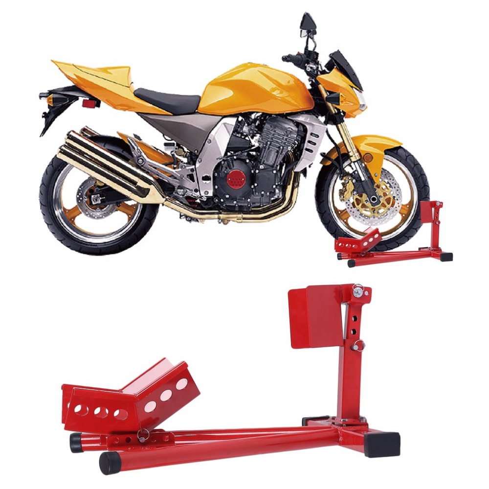 New Heavy Duty Motorcycle Front Wheel Chock Lift Stand Motorbike Bike Scooter Paddock For Garage Fit Most 16-18 Wheels paddock