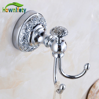 Polished Chrome Wall Mounted Flower Carving Hair Dryer Holder Free Shipping