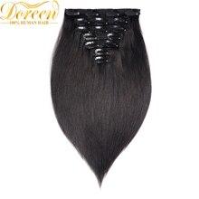 Doreen 160 г 200 г бразильский парик сделал Remy прямой зажим в человеческих волос для наращивания#1# 1B#2#4#8 полный набор головы 10 шт 16-22