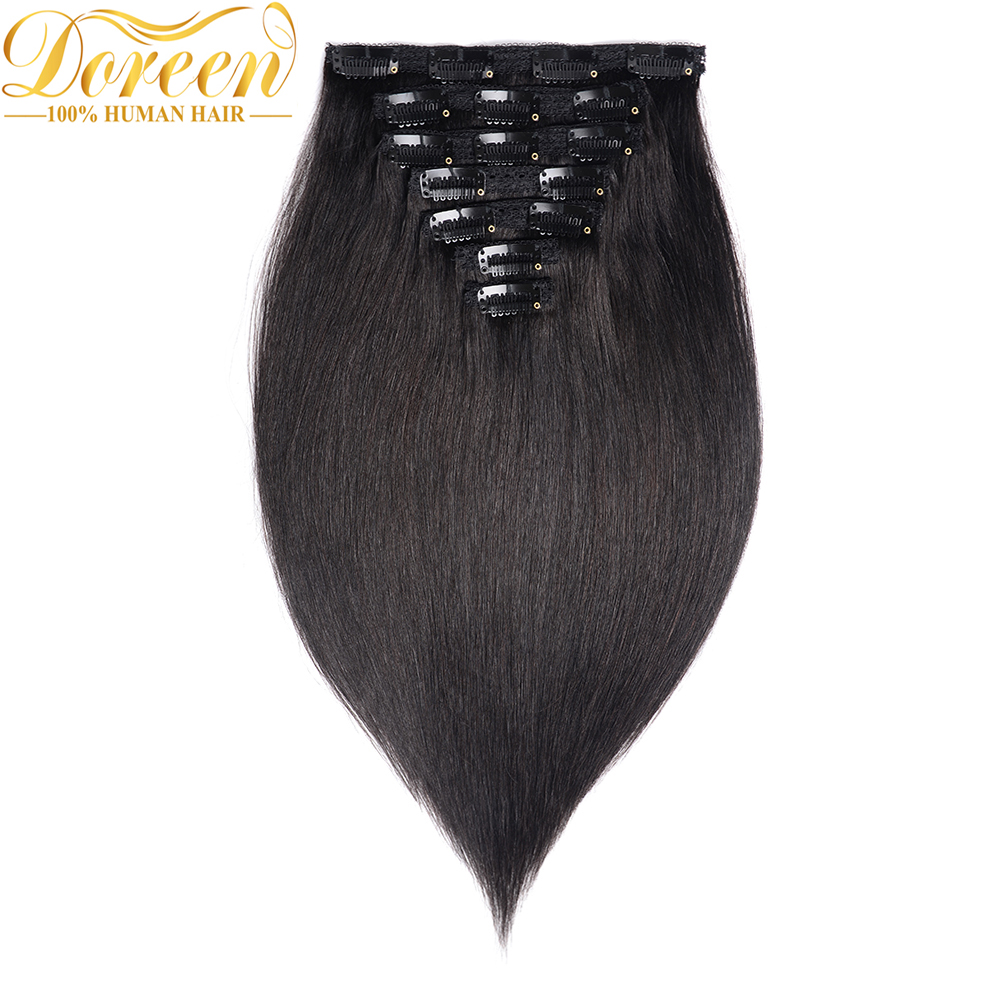 Doreen 160G 200G Brazilian Machine Made Remy Straight Clip In Human Hair Extensions #1 #1B #2 #4 #8 Full Head Set 10Pcs 16 22