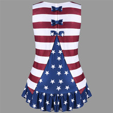 9aefde001ca 2018 New Fashion Summer Fashion Fashion Womens Plus Size American Flag  Print Ruffles Bowknot Patriotic Tank