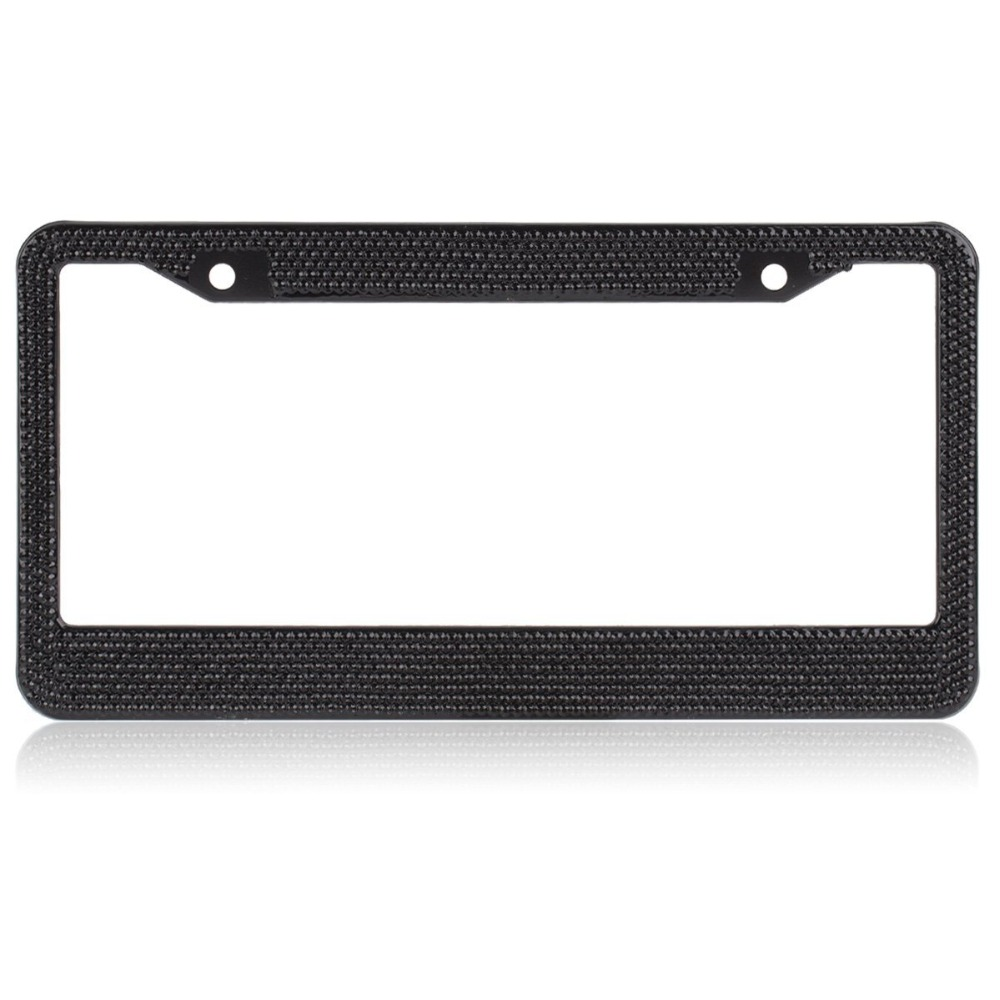 pure handmade crystal bling bling rhinestones aluminium car license plate frame for women crystal black
