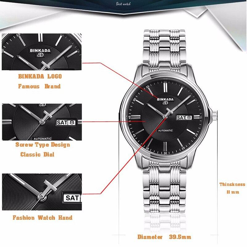 새로운 클래식 간단한 binkada 자동 시계 남자 고품질의 기계식 럭셔리 브랜드 비즈니스 시계 캐주얼 남성 relogio-에서기계식 시계부터 시계 의  그룹 3