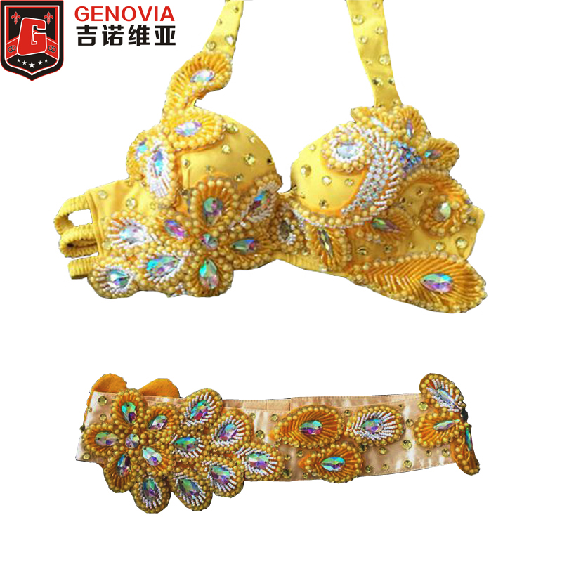 2018 Professional Dancewear 2pcs Set Bra+Hip Belt Luxury Belly Dancing Egyptian Costumes Oriental Dance Costume Bra Belt