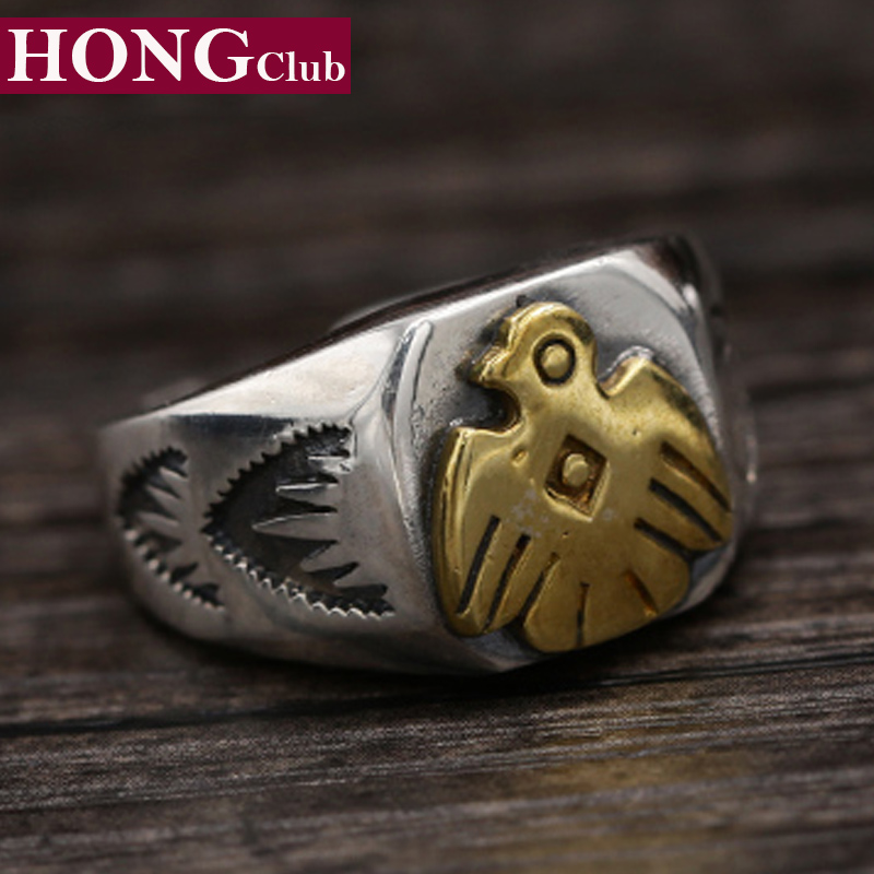 2017 Men Women Ring 100% 925 Sterling Silver Jewelry Fashion Fine Jewelry Japan Feather Eagle Adjustable Ring Brand jewelry YR13