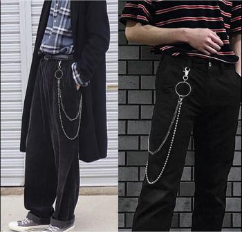 4 estilos de plata tono moda multicapa pantalones de cintura cadena 2 líneas Curb cadena metal Punk Jean llavero joyería para hombre