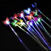 50pcs Wedding Decoration LED Flashing Hair Braid Luminous Butterfly Hair Extension Flash Braid Clips for Xmas Halloween Toys