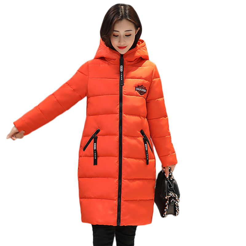 2017 New Winter Jacket Women Hooded Thick Coat Female Fashion Letters Warm Outwear Down Cotton-padded Long Wadded Parkas CM1662 2017 new female warm winter jacket women coat thick down cotton parkas cotton padded long jacket outwear plus size m 3xl cm1394