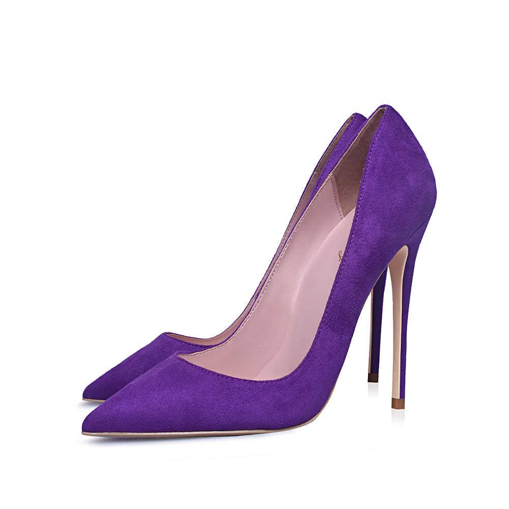 """Elisabettang Tím Gót Đàn Da Gợi Cảm Bơm Giày Cao Gót Patry Giày Cưới Sze 5-12 Nữ Zapatos de Mujer """"Tacon"""