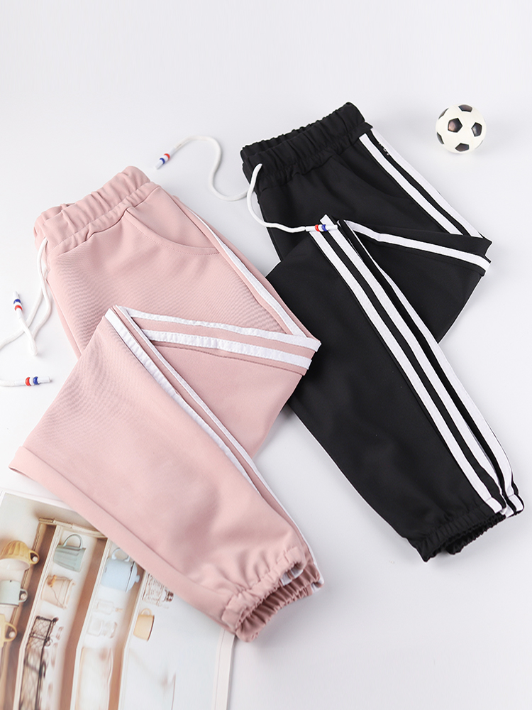 Women Fashion Fitness Long Pants Casual Side Striped Elastic Waist Gyms Leggings Jogger Sweatpants Female Trousers PP422