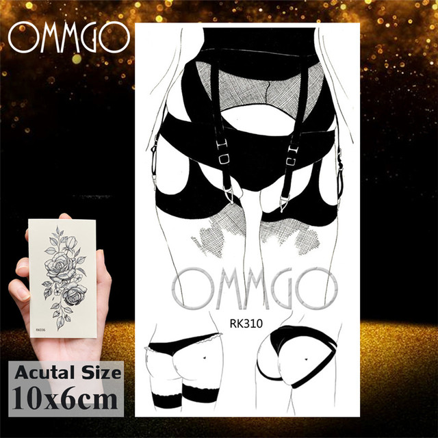 OMMGO Black Love Minimalist Adults Temporary Tattoos Sticker Small Fake Tattoo Gun Custom Tatoos For Women Sexy Body Art Arm 1