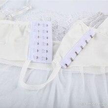 Women Chemises Sleepwear Sexy White Split Lace Babydolls Transparent Nigtht Dress T-back Homewear Sexy Erotic Lingerie Gauze XXL
