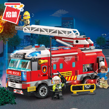 Toy Truck Firetruck Juguetes Fireman Building Blocks Sam Fire Truck Educational Toys for Boys compatible legoing Building block
