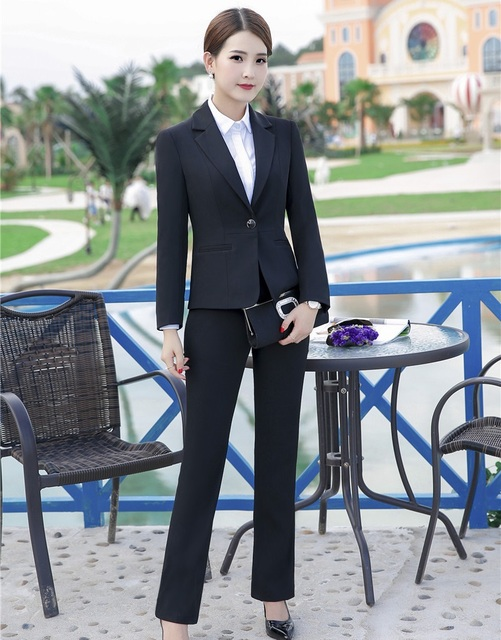 58d2ed844c Formal Office Uniform Designs Women Pant Suits Black Blazer and Jacket Sets  Elegant Ladies Work Wear Business Female Clothes