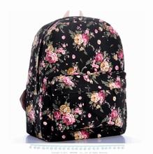 Винтаж черная роза цветочный печати холст рюкзаки досуг моды большой емкости студент мешок школы женщины daypacks