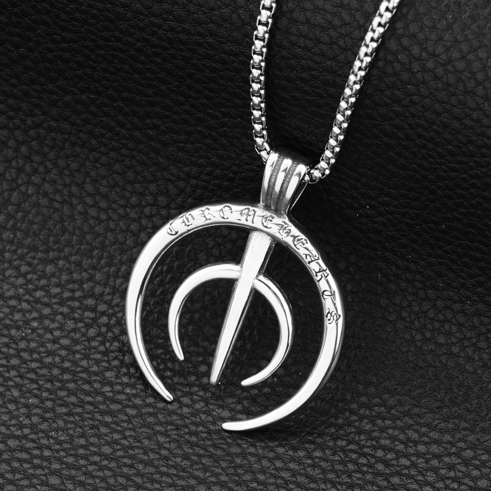 2018 new Hiphop Goofan True Word Circle Pendant Necklace Stainless Steel Fashion Jewelry For Men Women Gift STN1028