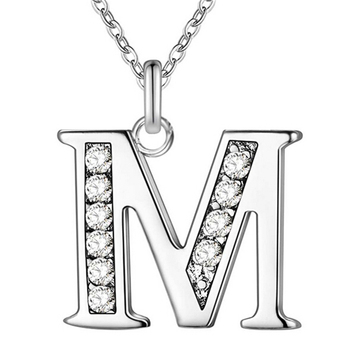Fashion Crystal Letter A B C D E F G H I J K L M N O P Q I S T U V W X Y Z Alphabet Pendant with Clavicle Chain Necklace image