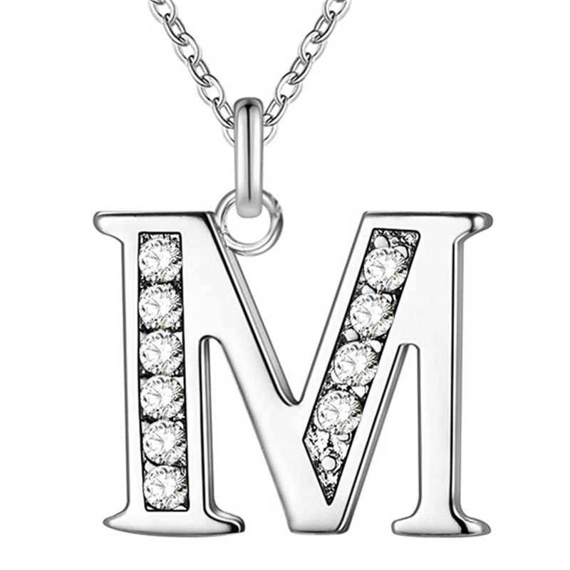 Fashion Silver Crystal Letter A B C D E F G H I J K L M N O P Q I S T U V W X Y Z Alphabet Pendant with Clavicle Chain Necklace ...
