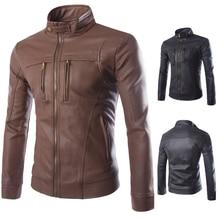 Новый Повседневная стенд воротник мужской мотоцикл локомотив кожаные куртки Большой плюс размер пальто верхняя одежда топ PU мужчина пальто