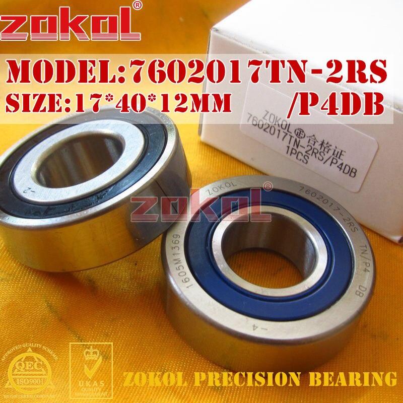 ZOKOL bearing 7602017 TN 2RS P4 DB C 760203 2RSDB Axial Angular Contact Ball Bearing 17*40*12mm zokol bearing 5317 2rs 3317 2rz 3056317 axial angular contact ball bearing 85 180 73mm