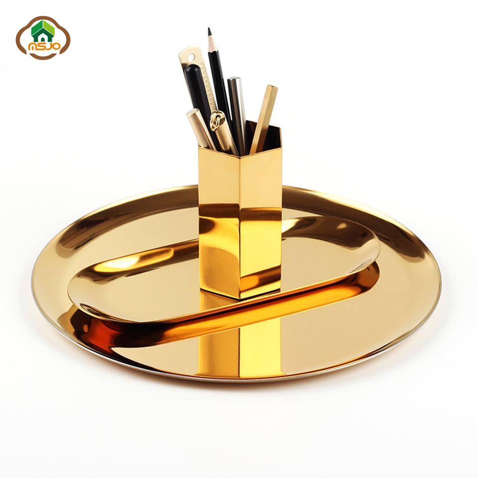 Msjo Trays Decorati Nordic Style Round Jewelry Storage Metal Snack Tray Metal Storage Gold Decoration Home Makeup Organizer