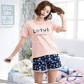 Marca Plus XXL 100% Mujeres del Algodón Salón Conjuntos de Pijamas Para Mujer ropa de Dormir Pijamas de Las Señoras Ocasionales Cortocircuitos Florales Fácil La Vida Simple desgaste