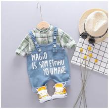 2019 Autumn Toddler Boys Clothes Sets Baby Infant Clothing Suits Plaid T Shirt Bib Pants Kids Children Costume Christmas Outfit
