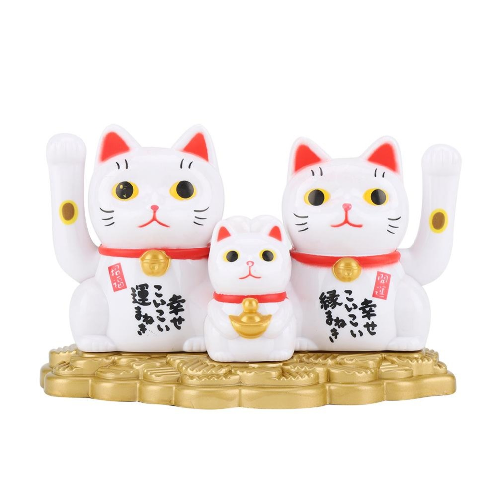 Chinese Welcoming Waving Beckoning Fortune Lucky Cat Gold Home Stores Car Decor