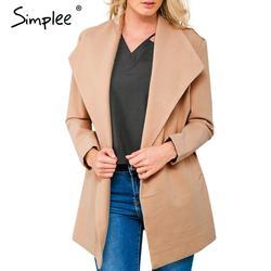 simplee одежды выключить ошейник грей шерсти смесь женщины долго верхней одежды в пальто, осень - зима - пончо кейпс теплый плащ пальто