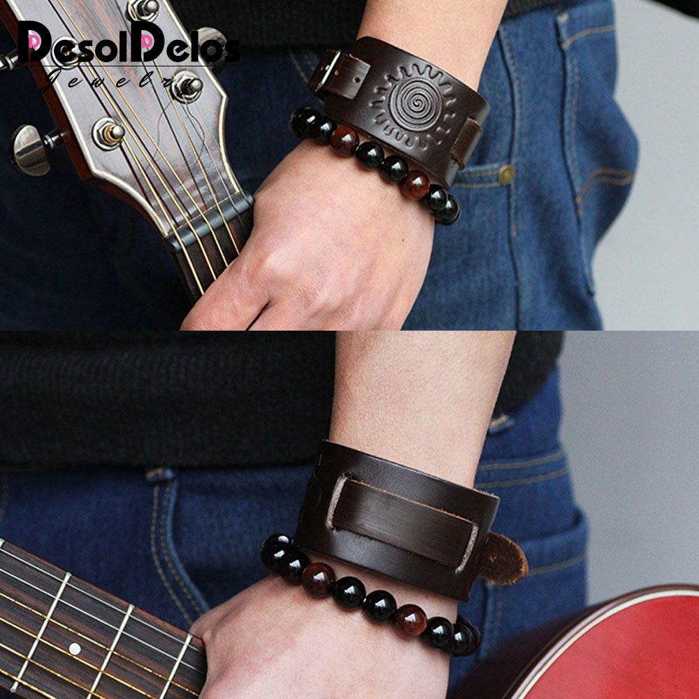 2019 Cowboy New Fashion Men Wide Leather Bracelet Brown Wide Cuff Bracelets Bangles Vintage Punk Wristband Men Jewelry in Charm Bracelets from Jewelry Accessories