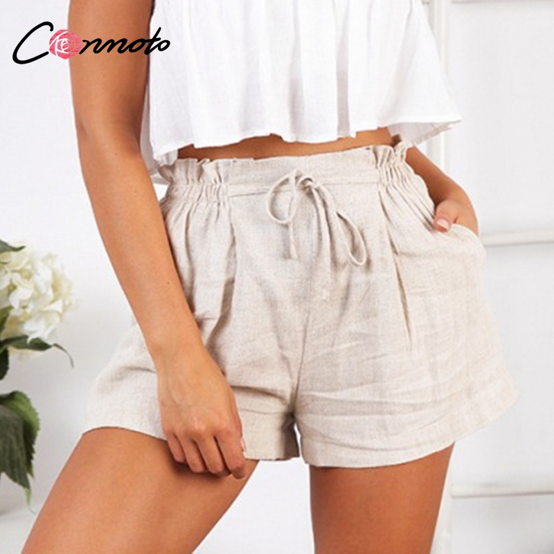 Image 3 - Conmoto Casual Beige Holiday Beach Lace up Thin Shorts Women 2019 Summer High Street Stylish Elastic Waist Girl Shorts Plus Size-in Shorts from Women's Clothing