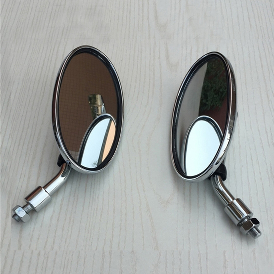 Universal 2PCS Retro Motorcycle Rearview Oval Silver Plating Short Handle ABS plastic Accessories