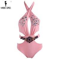 Missord 2017 Sexy Hanging Neck Irregular Metal Sequin Zip Pink Color Bodysuit FT8127