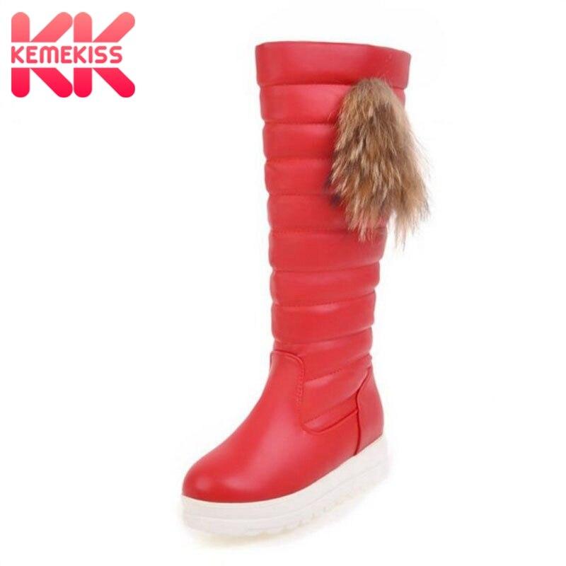 KemeKiss Size 33-43 Women Half Short Snow Boots Wedges Boots Thick Fur Shoes Women Winter Boots Long Botas Women Footwears цена
