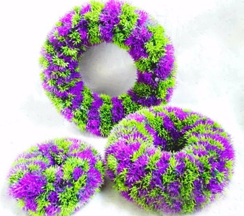 3pcs/set Green+Purple Artificial Plastic Grass Wreath Hoop For Wedding Party Home Office Hotel Decoration